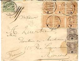 1908- Lettre De SETUBAL  Affr. à 80 Reis  ( Affr. Composé ) Pour La France - 1910 : D.Manuel II