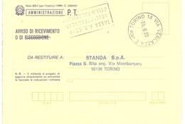 AVVISO CON ANNULLO TORINO 14 VIA VERNAZZA - 1981-90: Poststempel