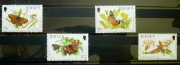 TIMBRES NEUF PAPILLONS JERSEY .1991 543 - 546 TIMBRE Papillon - Schmetterlinge