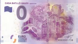 ESPAGNE - Billet Touristique 0 €uro 2016 / CASA BATLLO GAUDI . - Essais Privés / Non-officiels