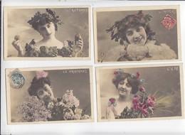 Série Fantaisie / Lot De 4 CP / Les 4 Saisons été, Hiver, Printemps, Automne / Voyagé 1907 - Other