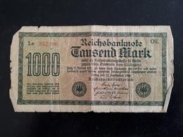 Billet Allemagne 1000 Marks Berlin 15/09/1922  & - [ 3] 1918-1933 : Weimar Republic