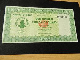 ZIMBABWE Energie Träger Schecks 100.000  Dollars  1.6. 2006 Unc - Zimbabwe