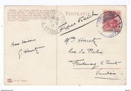 Sur CPA De Bingen Pour Fontenay Le Comte Vendée France CAD Leopoldshöhe Lippe 1910 Sur Timbre Deutches Reich. (2472) - Affrancature Meccaniche Rosse (EMA)