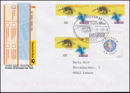 2089 EXPO 2000 3x100 Pf MiF Sonder-R-Zettel Postboc R-FDC ESSt HANNOVER 13.1.00 - [7] Federal Republic
