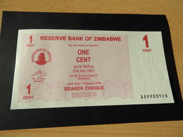 ZIMBABWE Energie Träger Schecks 1 Cent   1.8. 2006 Unc - Zimbabwe