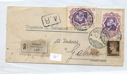 1943 RACCOMANDATA PESARO-GABICE CON GALILEI 2 X 50C.+ IMPERIALE 10C. - Storia Postale