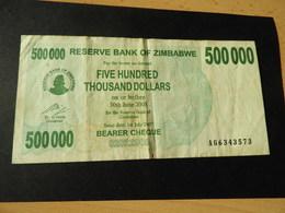 ZIMBABWE Energie Träger Schecks 500.000 Dollars   1.7. 2007 Gebr. - Zimbabwe