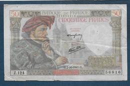 Billet De 50 Fr  Jacques Coeur  Du 2 - 10 - 1941 - 50 F 1940-1942 ''Jacques Coeur''
