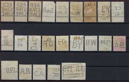 BELGIQUE - PERFORE - LOT De 23 TIMBRES PERFORES BELGES - PERFINS ; LOOK 2 SCANS ! - Lochung