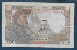 Billet De 50 Fr  Jacques Coeur  Du  15 - 5 - 1942 - 1871-1952 Circulated During XXth