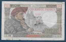 Billet De 50 Fr  Jacques Coeur  Du  20 - 11 - 1941 - 1871-1952 Antiguos Francos Circulantes En El XX Siglo