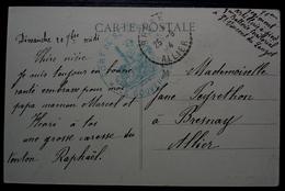 Saint Vincent Du Lauzet 1914, Cachet Fort De Saint Vincent Sur Carte De Barcelonnette Pour Bresnay Allier - Marcofilie (Brieven)