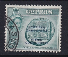 Cyprus: 1960/61   QE II - Pictorial 'Cyprus Republic' OVPT   SG194   25m   Deep Turquoise-blue    Used - Cyprus (...-1960)