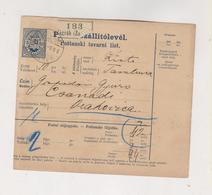 CROATIA HUNGARY 1895 ZAGREB Parcel Card - Croatie