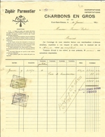 """Facture De Zéphir PARMENTIER """" Charbons En Gros """" COURT-SAINT-ETIENNE  Pour BRAIVES 1924 - Belgio"""