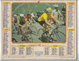 CYCLISME. Calendrier PTT 1981. Bernard HINAULT Maillot Jaune Tour De France, ZOETEMELK (vert), BATTAGLIN (à Pois) - Tamaño Grande : 1981-90