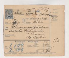 CROATIA HUNGARY 1895 VRHOVINE Parcel Card - Croatie