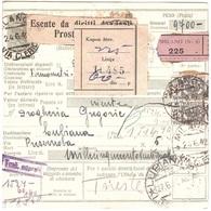 BOLLETTINO PACCHI CON 2 X £4 DA MILANO VIA CLEICI A LUBIANA RETRO 4 X £40 SEGNATASSE ANN.TRIESTE DOGANA - 1900-44 Victor Emmanuel III