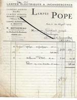 75 - Paris - PARIS-10e - Facture LAMPES POPE - Lampes électriques à Incandescence - 1929 - REF 282 - France