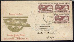 Australie - 1954 - Enveloppe 1er Jour Illustrée, Affranchissement Railway Centenary, De Vic Pour Elisabethville - Retour - 1952-65 Elizabeth II : Pre-Decimals