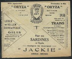 """Env.  Des Chèques Postaux 1929: Riz """"ORYZA""""  - Cuirs Et Peaux GILIS - Sardines """"JACKIE"""" Bruges- Réclames Dans Les Trains - Publicités"""