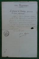 Manuscrit Premier Empire - Paris - École Impériale Polytechnique - Signataire, Le Général Jean Girard Lacuée, Gouverneur - Manuscrits