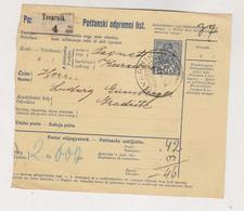 CROATIA HUNGARY 1911 TOVARNIK Parcel Card - Croatie