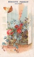 Chromo - Biscuits PERNOT, Dijon - Fleurs + Papillon, Carte Gaufrée - Pernot