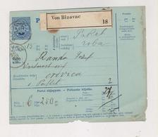 CROATIA HUNGARY 1895 BIZOVAC Parcel Card - Croatie
