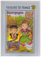 Carte En Relief Bourgogne Folklore De France Blason Poule Vin Raisin Vigne Vignoble Pot Moutarde Dijon CPM - Bourgogne