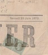 Paire De N° 25 Sur Fragment Journal JUIN 1872 Tarif 1870 / 1872 - Zeitungsmarken (Streifbänder)