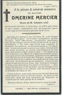 Souvenir Mortuaire - OMERINE MERCIER Veuve CELESTIN LUC - GONRIEUX 1816 - 1910 - Images Religieuses