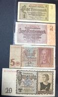 Germania Germany 4 Notes 1+2+5+20 Mark  1939 1942 1937   LOTTO 1059 - [ 6] 1949-1990 : GDR - German Dem. Rep.