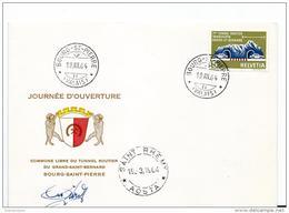 """206 - 87 - Enveloppe """"ouverture Du Tunnel Routier Du Grand-St-Bernard 1964 - Storia Postale"""