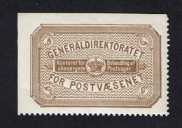 1890 Retour Return Stamp Generaldirektortet MNH # 2 - 1864-04 (Christian IX)