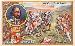 Chromo - Biscuits PERNOT, Dijon - Fernand Cortez Né à Médellin, Mort à Séville - Indiens - Aztèques - Pernot