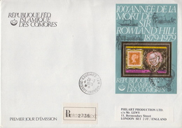 Postal History: Comoros Sir Rowland Hill Gold Foil SS On Registered Cover To England, Very Rare!!!!! - Rowland Hill