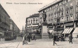 MILANO - PIAZZA CORDUSIO E MONUMENTO A PARINI - NON VIAGGIATA - Milano (Milan)