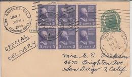1949, Postal Stationary + Block Of 6, Special Delivery, Ganzsache + Zusatzfrankatur 6er Block - Postal Stationery