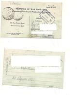 3767) POW 2^WW PRIGIONIERI GUERRA CAMP 127 22-8-1943 X GRATTERI PALERMO PIEGA VERTICALE - Marcophilia