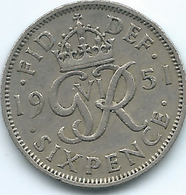 United Kingdom / Great Britain - 1951 - 6 Pence - George V - KM875 - 1902-1971 : Monete Post-Vittoriane