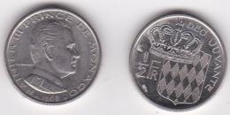 MONACO. 1/2 FRANC 1968 RAINIER III - 1960-2001 Nouveaux Francs