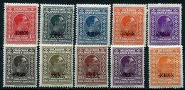 YUGOSLAVIA 1928 Cancelled Surcharges Definitive Set MNH / **.  Michel 212-21 - Ungebraucht