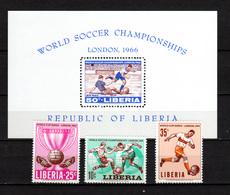 Liberia 1966 Football Soccer World Cup Set Of 3 + S/s MNH - 1966 – England