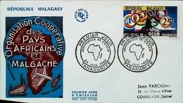 REPOBLIKA MALAGASY MADAGASCAR - FDC - 1966 (Oblitération Tananarive) - Conférence De L'OCAM - Enveloppe Premier Jour - Madagascar (1960-...)