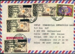 """1987, Airmail To Switzerland Franked With 4 Stamps Copernicus 10 F On 65 """"Republique Populaire Du Benin"""" - Bénin – Dahomey (1960-...)"""