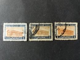 GREECE GRECIA HELLAS Ελλάδα 1927 VEDUTE E SOGGETTI VARI TEMPIO DI TESEO VARIETA COLOR - Gebraucht
