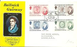 Guernsey 1971 Thomas De La Rue (1793-1866), Printer, Mi 53-57, FDC - Guernsey