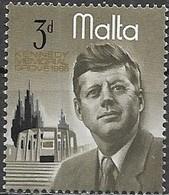 MALTA 1966 President Kennedy Commemoration - 3d President Kennedy And Memorial MH - Malte